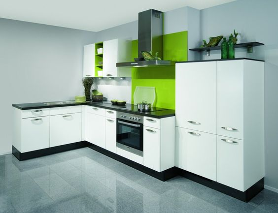 monochrome kitchen with colour